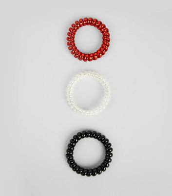 3 Pack Red White and Black Spiral Bobbles