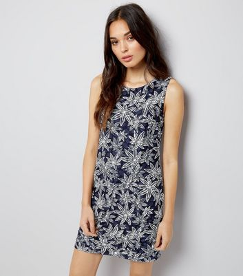 Mela Navy Leaf Print Shift Dress