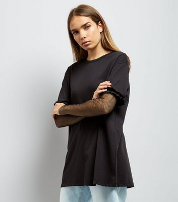 Noisy May Black Fishnet Frill Sleeve T-Shirt