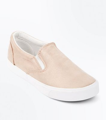 Rose Gold Shimmer Slip On Trainers