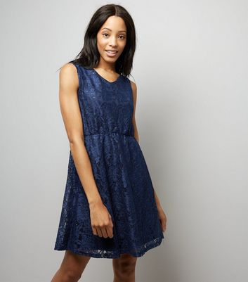 Mela Navy Lace Sequin Detail Tea Dress