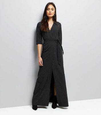 Mela Black Pinstripe Maxi Dress