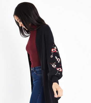 Blue Vanilla Black Embroidered Sleeve Cardigan