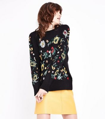Blue Vanilla Black Floral Embroidered Jumper