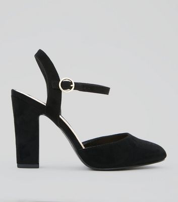 Wide Fit Black Suedette Circle Buckle Court Shoes