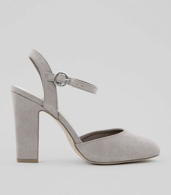 Wide Fit Grey Suedette Circle Buckle Court Shoes