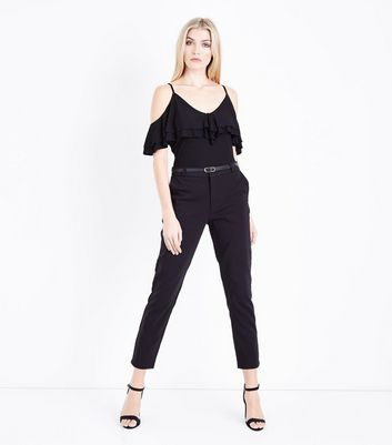 Black Premium Belted Cropped Trousers