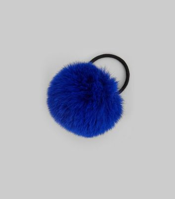 Blue Faux Fur Pom Pom Hair Band