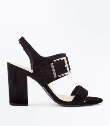 Wide Fit Black Comfort Suedette Buckle Heeled Sandals