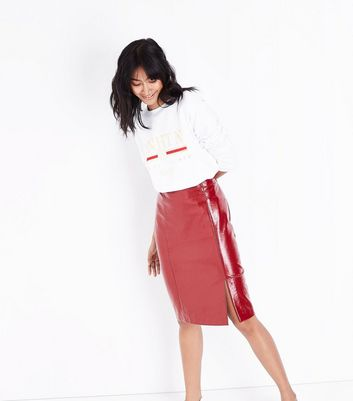 Red Patent Leather-Look Pencil Skirt