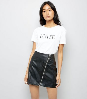Black Asymmetric Leather-Look Mini Skirt
