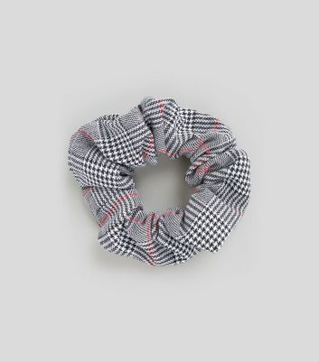 Black Check Pattern Scrunchie
