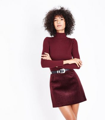 Burgundy Embossed Velvet Mini Skirt
