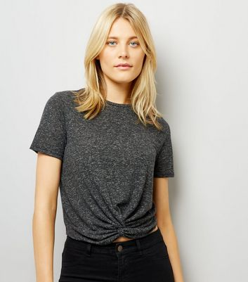 Grey Twist Front Crop T-Shirt