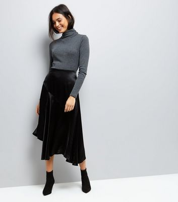Black Asymmetric Satin Midi Skirt