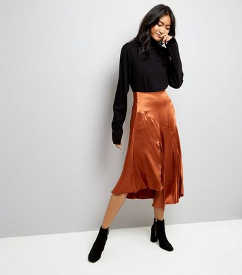 Brown Asymmetric Satin Midi Skirt