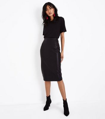 Black Seam Detail Leather-Look Pencil Skirt
