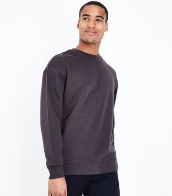 Dark Grey Ribbed Panel Sweatshirt