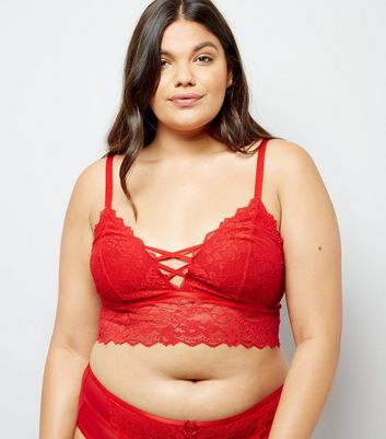 Curves Red Lattice Lace Bralet