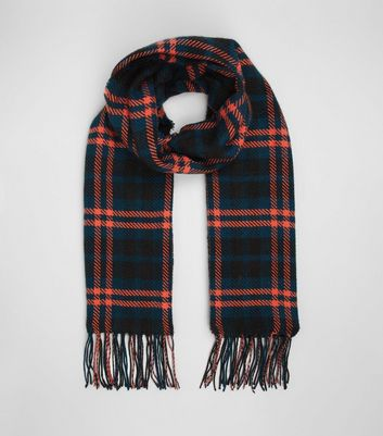 Petrol Blue Check Scarf