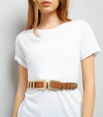 Tan Western Double Buckle Belt