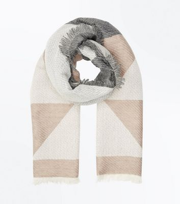 Mink Geometric Colour Block Scarf