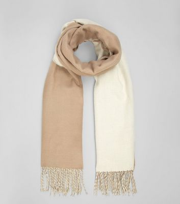 Stone and Cream Colour Block Scarf