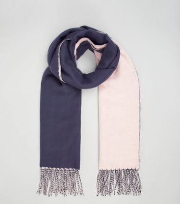 Blue and Pink Colour Block Scarf