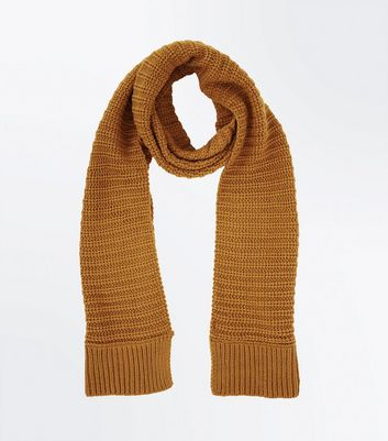 Yellow Ribbed Knit Scarf