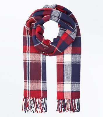 Red Check Tassel Fringed Scarf