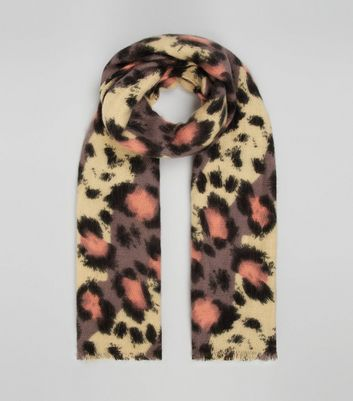 Multi-Coloured Leopard Print Scarf