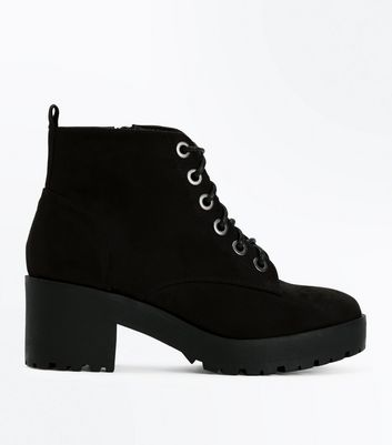 Teens Black Suedette Lace Up Chunky Boots