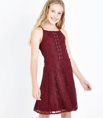 Teens Burgundy Eyelet Lace Skater Dress