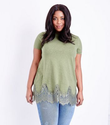Curves Khaki Lace Hem Oversized T-Shirt