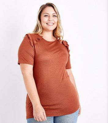 Curves Rust Frill Trim T-Shirt