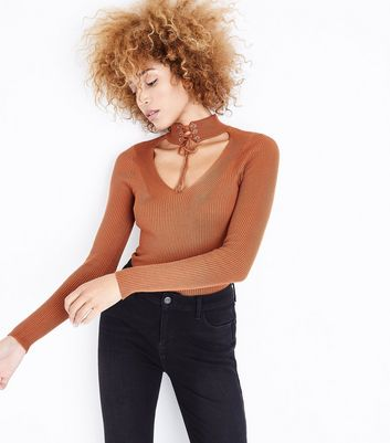 Pink Vanilla Brown Lace-Up Choker Neck Top