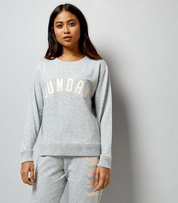 Petite Grey Sunday Applique Lounge Sweatshirt