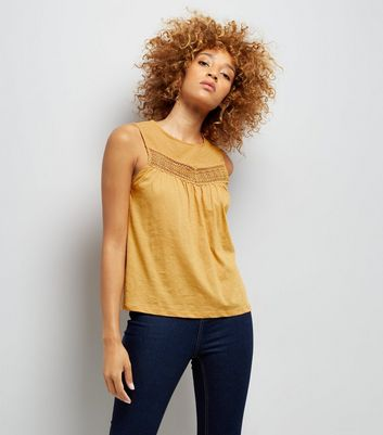 Yellow Lace Panel Spot Detail Vest Top