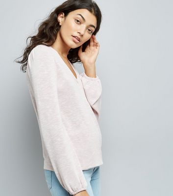 Pink Tall Wrap Front Puff Shoulder Top