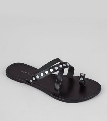 Wide Fit Black Leather Studded Cross Strap Sandals