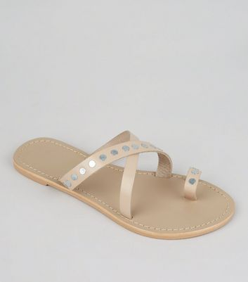 Wide Fit Pink Leather Stud Cross Strap Sandals