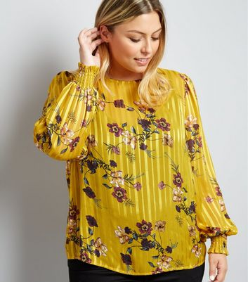 Curves Yellow Floral Stripe Balloon Sleeve Blouse