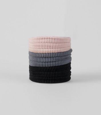 6 Pack Pink Grey and Black Thick Hair Bands