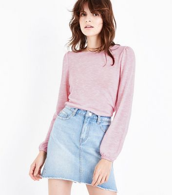 Shell Pink Fine Knit Crew Neck Top