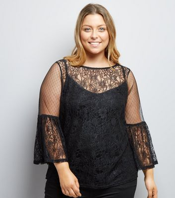 Curves Black Sheer Lace Flute Sleeve Blouse