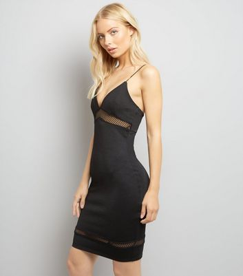 Black Fishnet Panels Bodycon Dress