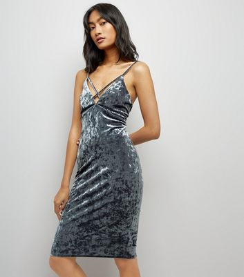 Grey Crushed Velvet Lattice Plunge Neck Bodycon Dress