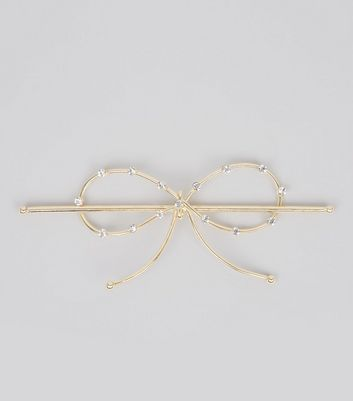 Gold Diamante Bow Hair Clip