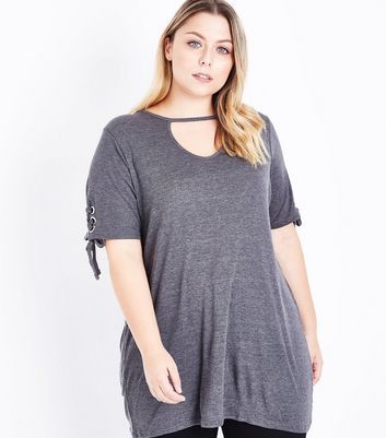 Curves Grey Eyelet Sleeve Longline Top