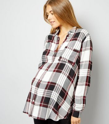 Maternity White Check Long Sleeve Shirt